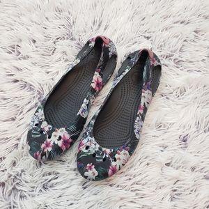Crocs Floral Black Slip On Flats
